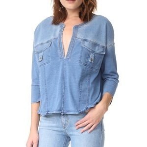 Free people jean top- oversized fits